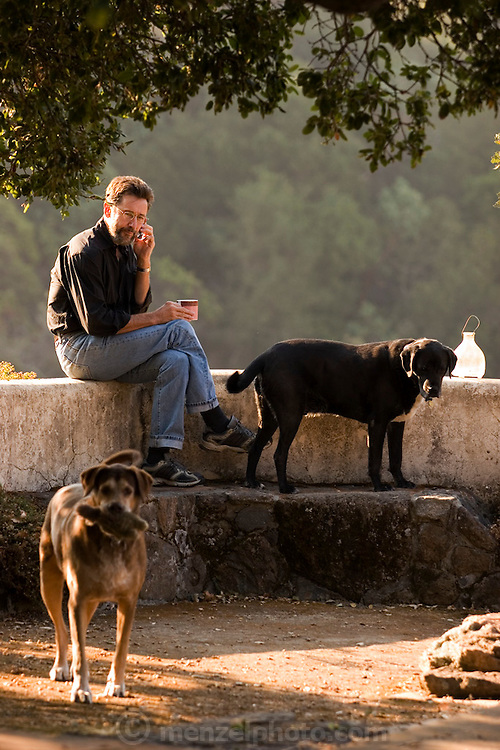 James Conaway, author of two books on the Napa Valley,  talking on his cellphone in his Napa Valley, California, office on the Menzel property with two guard dogs at his sides.