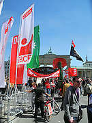 Berlin, GERMANY. General Views,  GV's.  of the, Political Rally, held at the  Brandenburg Gate on May Day 2011.  Saturday  01/05/2011 [Mandatory Credit; Peter Spurrier/Intersport-images]. Street Photos