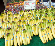 Bunches of bananas for sale on market stall priced in imperial pounds and kilograms