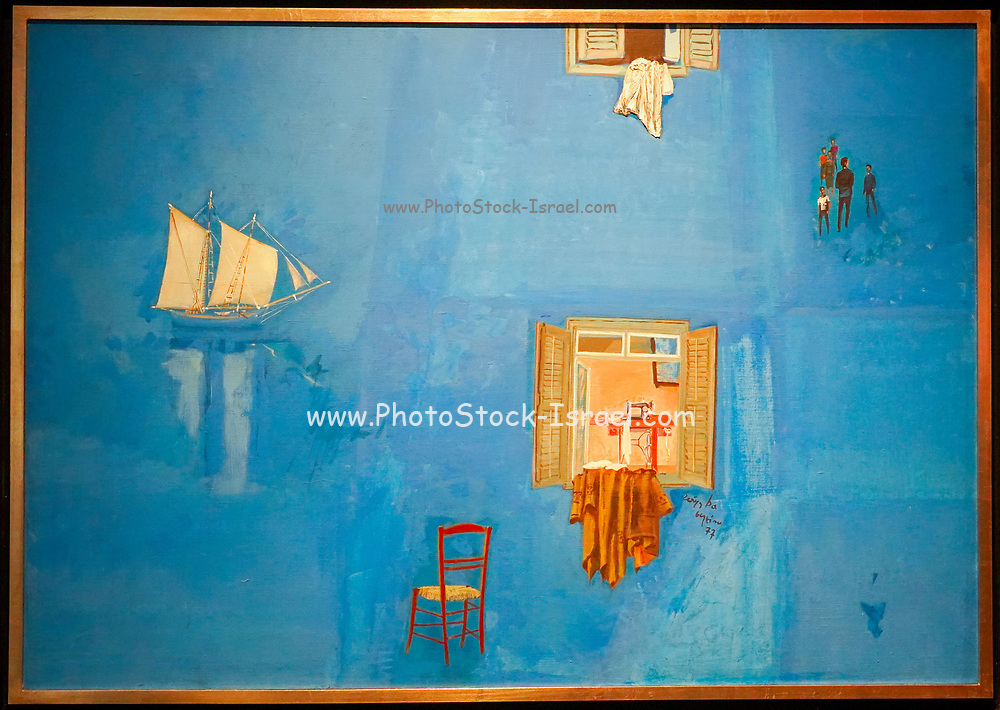 Spyros Vassiliou (1902 - 1985), An Azure Day, 1977, Oil and collage on canvas, 81 × 116 cm, At the Goulandris Museum of Contemporary Art is a modern art museum in Eratosthenous Street, Pangrati, Athens, Greece, opened in October 2019.