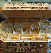 Two sewing boxes, 1800s, China, lacquer, ivory.  Both boxes were made in China for export to Europe.