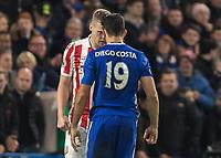 Football - 2016 / 2017 Premier League - Chelsea vs. Stoke City <br /> <br /> Diego Costa of Chelsea confronts Ryan Shawcross of Stoke City at Stamford Bridge.<br /> <br /> COLORSPORT/DANIEL BEARHAM