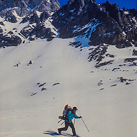 Ski Mountaneers cross Paiute Pass in the John Muir Wilderness, Sierra Nevada, California.