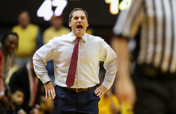 Feb 24, 2018; Morgantown, WV, USA; Iowa State Cyclones head coach Steve Prohm argues a call during the second half against the West Virginia Mountaineers at WVU Coliseum. Mandatory Credit: Ben Queen-USA TODAY Sports