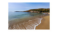 Azure skies and strong but cold Atlantic surf at the Sand Beach in october, Acadia National Park, Maine, USA