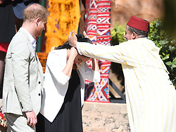 Prince Harry, Duke of Sussex, and Meghan Markle, Duchess of Sussex visit a market at the Adalusian Gardens in Rabat, Morocco, on the 25th February 2019. 25 Feb 2019 Pictured: Prince Harry, Duke of Sussex, and Meghan Markle, Duchess of Sussex visit a market at the Adalusian Gardens in Rabat, Morocco, on the 25th February 2019. Photo credit: James Whatling / MEGA TheMegaAgency.com +1 888 505 6342
