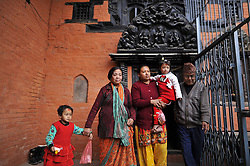February 5, 2018 - Patan, Nepal - 5yrs old NIHIRA BAJRACHARYA (R) and and her contender SONA BAJRACHARYA (L) for final selection before declared as the new Living Goddess of Patan known as Kumari at Patan, Nepal on Monday, February 5, 2018. 5yrs old NIHIRA BAJRACHARYA selected as the new Living Goddess of Patan among five girls. (Credit Image: © Narayan Maharjan/NurPhoto via ZUMA Press)