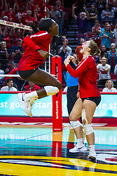 BLOOMINGTON, IL - September 14: Emmy Ogogor and Monica Miller celebrate during a college Women's volleyball match between the ISU Redbirds and the University of Central Florida (UCF) Knights on September 14 2019 at Illinois State University in Normal, IL. (Photo by Alan Look)