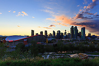The view of the sunset over downtown Calgary as seen from Scotsman's Hill in teh Ramsay neighborhood.<br /> <br /> ©2015, Sean Phillips<br /> http://www.RiverwoodPhotography.com