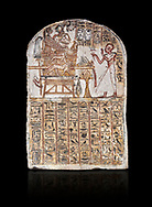 Ancient Egyptian Stele of Amenemope dedicated to Amenhotep I and Ahmose-Nefertari, limestone, New Kingdom, 19th Dynasty, (1279-1213 BC), Deir el-Medina, Drovetti cat 1452. Egyptian Museum, Turin. black background. .<br /> <br /> If you prefer to buy from our ALAMY PHOTO LIBRARY  Collection visit : https://www.alamy.com/portfolio/paul-williams-funkystock/ancient-egyptian-art-artefacts.html  . Type -   Turin   - into the LOWER SEARCH WITHIN GALLERY box. Refine search by adding background colour, subject etc<br /> <br /> Visit our ANCIENT WORLD PHOTO COLLECTIONS for more photos to download or buy as wall art prints https://funkystock.photoshelter.com/gallery-collection/Ancient-World-Art-Antiquities-Historic-Sites-Pictures-Images-of/C00006u26yqSkDOM