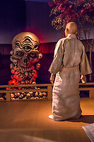Kiyomori meets the harbingers of doom, composed of skulls - <br /> Heike Monogatari Wax Museum - The rise and fall of the Heike clan is reproduced in a massive scale using 260 wax figures, in seventeen scenes using historical dioramas. There is also a gallery introducing famous persons from Shikoku and Japan such as prime ministers, baseball players, enka singers and more.  This is the largest wax museum in Japan.  It's main theme, of course is the history of the genpei war, narrated by a lute playing priest.