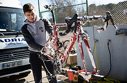 Mechanic Jan Bevc of Professional Slovenian cycling team KK Adria Mobil at work during training camp in Istria before new season 2021, on February 15, 2021 in Porec, Croatia. Photo by Vid Ponikvar / Sportida