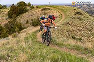 Mountain biking switchbacks above Wannagan Camprgound on the Maah Daah Hey Trail in the Little Missouri National Grasslands, North Dakota, USA MR
