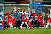 Poland's Nicola Zalewski & Scotland's Stuart Mckinstry (Motherwell) battle for tha ball in front of the Poland bench  during the U17 European Championships match between Scotland and Poland at Firhill Stadium, Maryhill, Scotland on 26 March 2019.
