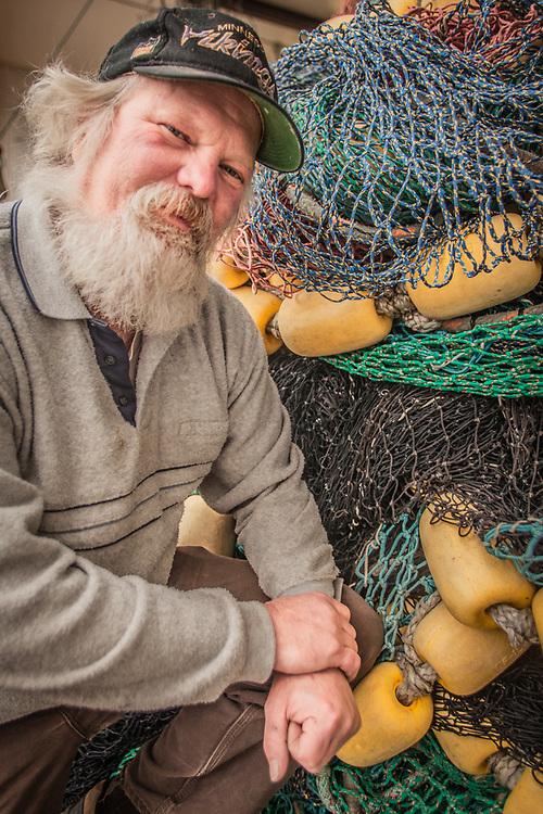 Seine builder Vern Alberts at Bulletproof Nets, Homer, AK  vern2330@gmail.com