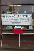 We Buy Your Records sign in the window of Record Detective Agency record shop on the 27th March 2018 in Palmers Green, North London in the United Kingdom.