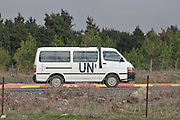 Israel, Golan Heights, A United Nations Disengagement Observation Force vehicle on the Israeli-Syrian border