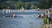 Henley. Berks, United Kingdom. <br /> <br /> General Veiw, GV looking down towards Temple Island fro Upper Thames RC.. 2017 Henley' Women's Regatta. Rowing on, Henley Reach. River Thames. <br /> <br /> <br /> Saturday  17/06/2017<br /> <br /> <br /> [Mandatory Credit Peter SPURRIER/Intersport Images]