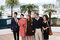 Yu Junsang, Moon Sori,  Isabelle Huppert, Hong Sangsoo, Youn Yuh-jung at the DA-REUN NA-RA-E-SUH (IN ANOTHER COUNTRY) film photocall at the 65th Cannes Film Festival. Monday 21st May 2012 in Cannes Film Festival, France.