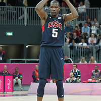 31 July 2012: USA Kevin Durant looks to pass the ball during 110-63 Team USA victory over Team Tunisia, during the men's basketball preliminary, at the Basketball Arena, in London, Great Britain.