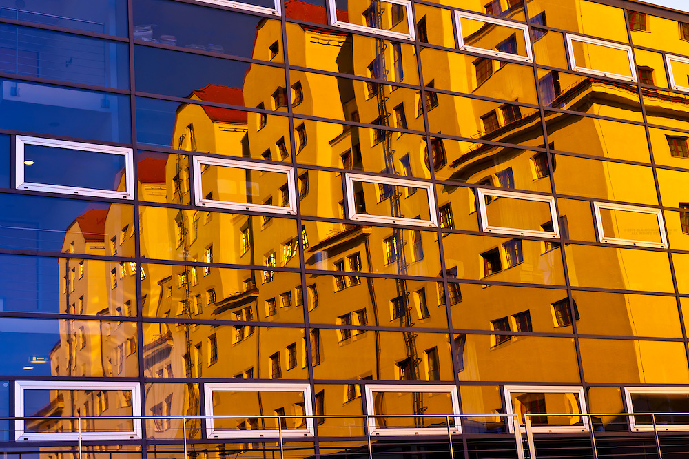 Reflection of the Maritim Hotel into the glass exterior of the International Congress Center, Dresden, Saxony, Germany