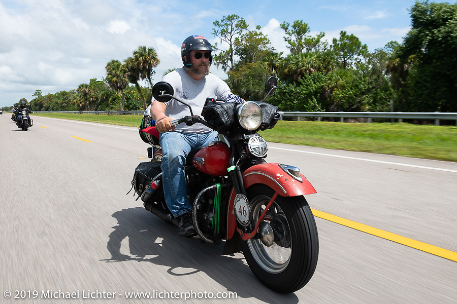 Matt Miller riding his 1947 Harley-Davidson Model U Flathead in the Cross Country Chase motorcycle endurance run from Sault Sainte Marie, MI to Key West, FL. (for vintage bikes from 1930-1948). Stage-9 covered 259 miles from Lakeland, FL to Miami, FL USA. Saturday, September 14, 2019. Photography ©2019 Michael Lichter.