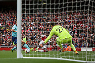 Danny Welbeck of Arsenal scores Arsenal's 3rd goal. Premier league match, Arsenal v AFC Bournemouth at the Emirates Stadium in London on Saturday 9th September 2017. pic by Kieran Clarke, Andrew Orchard sports photography.