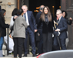 Salama Hayek André Francois Henri Pinault leaving the funeral service for late photographer Peter Lindbergh held at Saint Sulpice church in Paris, France on September 24, 2019. Photo by ABACAPRESS.COM