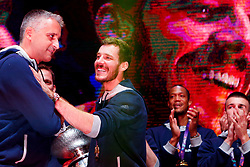 September 18, 2017 - Ljubljana, Slovenia, Slovenia - Goran Dragic and Kokoskov Igor celebrate fans after Slovenian basketball team historical win in European Championship in Istanbul on September 18, 2017 in Ljubljana, Slovenia. (Credit Image: © Damjan Zibert/NurPhoto via ZUMA Press)