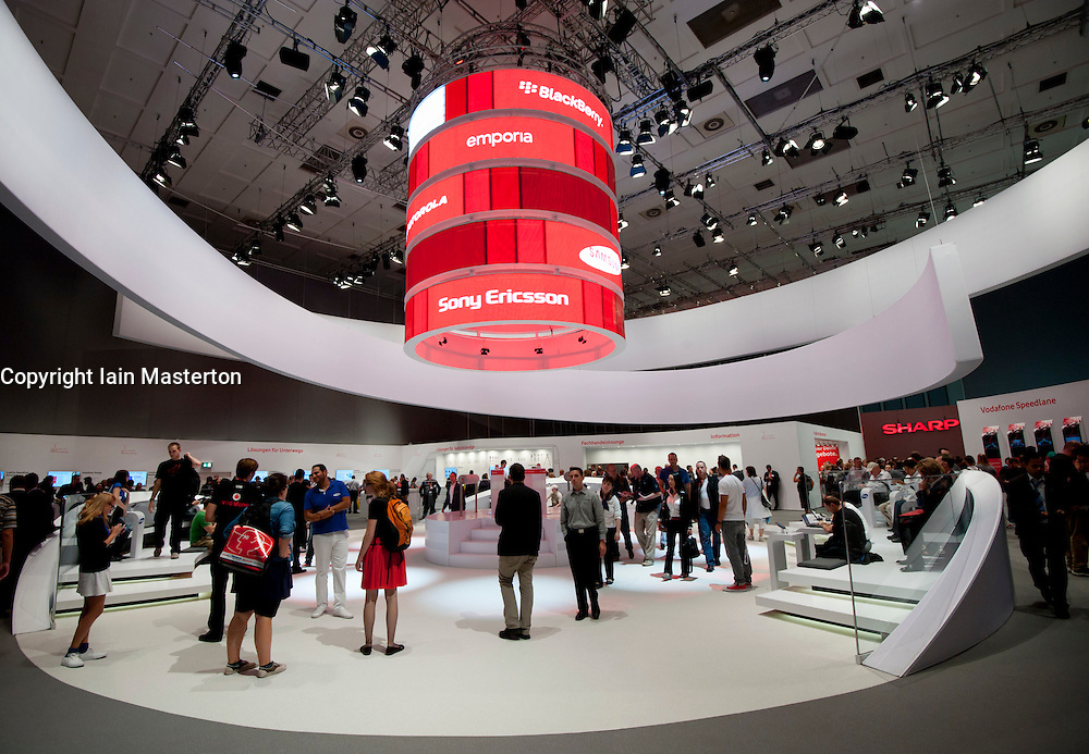 vodafone stand at IFA consumer electronics trade fair in Berlin Germany 2011
