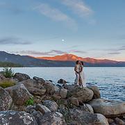 Sunset Beach Embrace | Lake Tahoe Wedding Photography Portfolio| Incline Village, Nevada