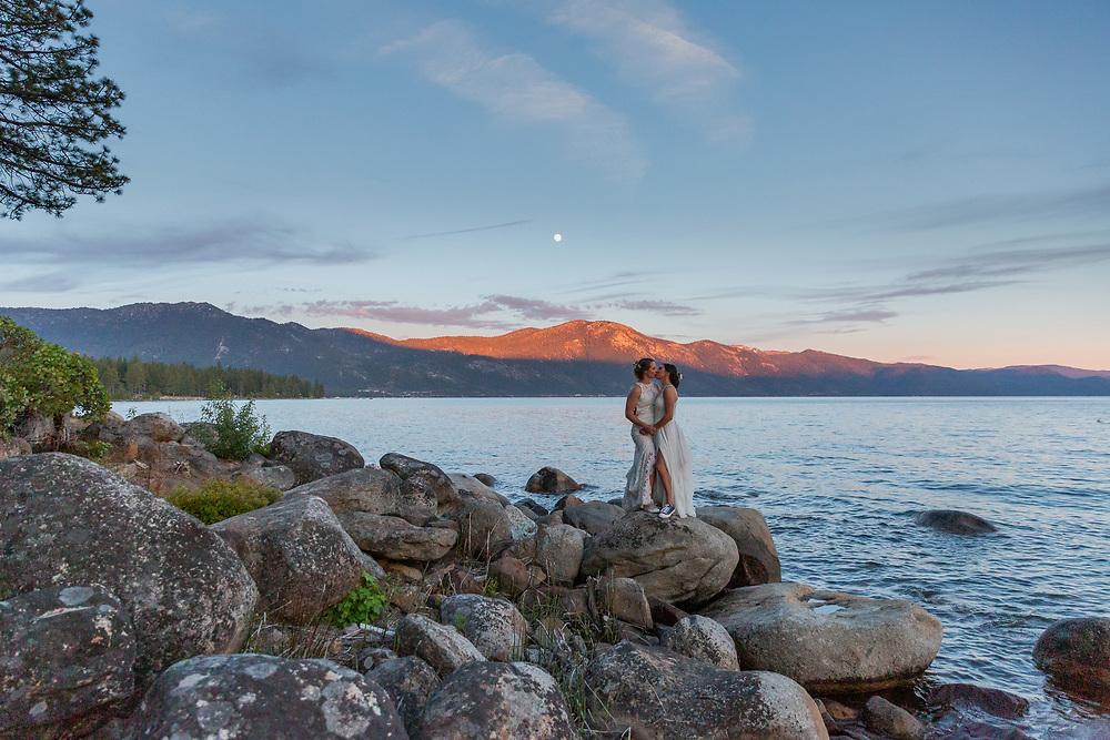 Sunset Beach Embrace   Lake Tahoe Wedding Photography Portfolio  Incline Village, Nevada
