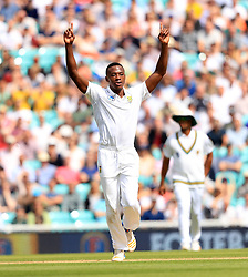 South Africa's Kagiso Rabada celebrates taking the wicket of England's Keaton Jennings during day four of the 3rd Investec Test match at the Kia Oval, London.