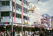 Shops decorated to celebrate independence Yufe's and Bata, Frederick Street, Port of Spain, Trinidad, 1962