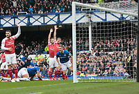 Football - 2018 / 2019 Premier League - Everton vs. Arsenal<br /> <br /> Phil Jagielka of Everton scores his side's first goal, at Goodison Park.<br /> <br /> COLORSPORT/ALAN MARTIN