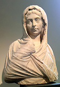 Marble portrait bust of a woman. circa 193 - 211 AD Roman