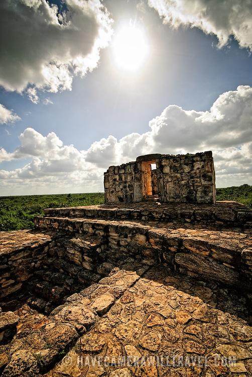 Atop the Oval Palace at the ancient Mayan ruins at Ek' Balam, near Valladolid, Yucatan, Mexico