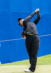 April 26, 2018 - San Francisco, CA, U.S. - SAN FRANCISCO, CA - APRIL 26: Yongin Chun of the United States drives from the 10th hole during the first round of the 2018 LPGA MEDIHEAL Championship on April 26, 2018 at the Lake Merced Golf Club in San Francisco, CA. (Photo by Douglas Stringer/Icon Sportswire) (Credit Image: © Douglas Stringer/Icon SMI via ZUMA Press)
