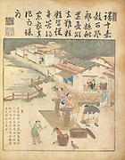 Ancient 17th century Chinese art Rice harvesting From Yu zhi geng zhi tu by Jiao, Bingzhen, 1696