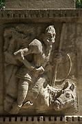 View of a Don Quixote statue on a stone wall, Granada, Nicaragua