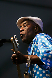 03 May 2015. New Orleans, Louisiana.<br /> The New Orleans Jazz and Heritage Festival. <br /> Buddy Guy at the Blues Tent.<br /> Photo; Charlie Varley/varleypix.com