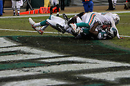 PHILADELPHIA - NOVEMBER 18: Jason Avant of The Philadelphia Eagles successfully lands in the endzone during the game against the Miami Dolphins on November 18, 2007 at Lincoln Financial Field in Philadelphia, Pennsylvania.