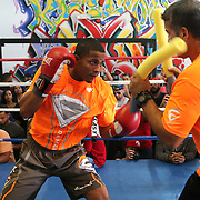 KISSIMMEE, FL - OCTOBER 05: Puerto Rican boxer Felix Verdejo (L) and his trainer Ricky Marquez are seen as they train during a media workout event at the Kissimmee Boxing Gym on October 4, 2015 in Kissimmee, Florida. Verdejo is returning from a hand injury and announced his next fight will take place in Kissimmee on October 31. (Photo by Alex Menendez/Getty Images) *** Local Caption *** Felix Verdejo; Ricky Marquez