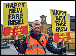 January 2, 2018 - London, London, United Kingdom - Image ©Licensed to i-Images Picture Agency. 02/01/2018. London, United Kingdom. Train Fare Protest...Activists and members of the RMT at Kings Cross Station protesting against the 3.4% increase in train fares. The protesters are calling for on rail companies to cut fares and not staff. (Credit Image: © Pete Maclaine/i-Images via ZUMA Press)