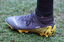 Close up of Watford's Jose Holebas's boots with the words Tanisha
