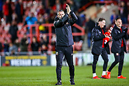 Wales Manager Ryan Giggs thanks fans at the end of the game during the Friendly European Championship warm up match between Wales and Trinidad and Tobago at the Racecourse Ground, Wrexham, United Kingdom on 20 March 2019.