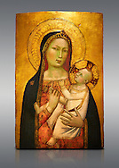 Gothic altarpiece of Madonna and Child by Bernardo Daddi, circa 1340-1345, tempera and gold leaf on wood.  National Museum of Catalan Art, Barcelona, Spain, inv no: MNAC  212806. . .<br /> <br /> If you prefer you can also buy from our ALAMY PHOTO LIBRARY  Collection visit : https://www.alamy.com/portfolio/paul-williams-funkystock/gothic-art-antiquities.html  Type -     MANAC    - into the LOWER SEARCH WITHIN GALLERY box. Refine search by adding background colour, place, museum etc<br /> <br /> Visit our MEDIEVAL GOTHIC ART PHOTO COLLECTIONS for more   photos  to download or buy as prints https://funkystock.photoshelter.com/gallery-collection/Medieval-Gothic-Art-Antiquities-Historic-Sites-Pictures-Images-of/C0000gZ8POl_DCqE