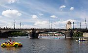 Pedallos on the vltava river, Prague, Czech Republic.