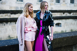 (L-R) Lena Perminova and Anne V, are seen in the streets of Paris after the Valentino show during Paris Fashion Week Womenswear Fall/Winter 2018/2019 on March 4, 2018 in Paris, France. (Photo by Nataliya Petrova/NurPhoto/Sipa USA)