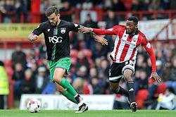 Marlon Pack of Bristol City is closed down by Josh Clarke of Brentford - Mandatory by-line: Dougie Allward/JMP - 16/04/2016 - FOOTBALL - Griffin Park - Brentford, England - Brentford v Bristol City - Sky Bet Championship